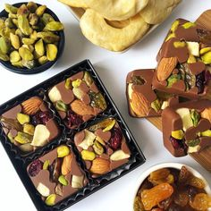 Fruits and Nuts - SUGAR FREE! - Healthy Chocolate - Madame Choklad Treats for those with a sweet tooth by Karen Gilbert Homemade Chocolate Bars, Artisan Chocolate, Chocolate Sweets, Chocolate Shop, Chocolate Bark, Healthy Chocolate, Chocolate Recipes, Köstliche Desserts, Delicious Desserts