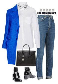"""Untitled #1473"" by samikayy76 ❤ liked on Polyvore featuring Yves Saint Laurent, DKNY, Miu Miu and Topshop"