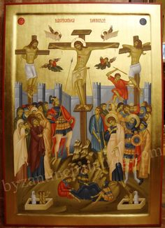 Crucifixion of The Lord Icon orders Religious Images, Religious Icons, Religious Art, Byzantine Icons, Byzantine Art, Early Christian, Christian Art, Transfiguration Of Jesus, Jesus In The Temple