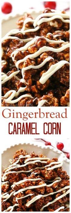 Gingerbread Caramel Popcorn - a crunchy popcorn with festive…