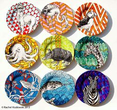 Colourful Collection Hand Painted Plates by Rachel Kozlowski