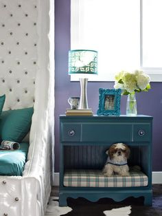 A nightstand doubles as a cozy pet sleeping area. See more cute animals at home >> http://www.hgtv.com/decorating-basics/cute-pets-in-our-favorite-spaces/pictures/index.html?soc=pinterest