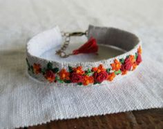 Floral Embroidered Cuff Bracelet - Red and Orange Flowers on Gray Linen Embroidered Cuff Bracelet