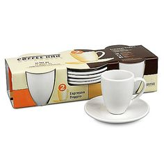 Coffee Bar by Konitz Espresso Doppio Cups and Saucers (Set of 4)