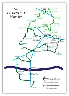 Leaflet Map design and print of The Cotswold Meander for Vintage Classics. Cotswolds Map, Leaflet Map, Vintage Classics, Map Design, Uk Trip, Presentation, Architecture, Heart, Viajes