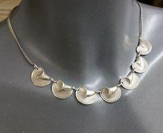 Vintage Halsschmuck - Halskette Collier Silber 925 Muscheldesign SK796 - ein…
