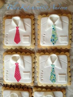 Shirt cookies~ By Blau Kitchen, fathers day white shirt, necktie Fondant Cookies, Edible Cookies, Iced Cookies, Royal Icing Cookies, Cupcake Cookies, Sugar Cookies, Man Cookies, Biscuit Cookies, Cute Cookies