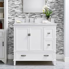 This charming, 36'' single vanity is the perfect piece for making a great first impression in your guest bathroom. It's made from solid and engineered wood with a white granite countertop around a porcelain undermount sink, plus a matching backsplash to protect your walls. Below, a double-door cabinet and three drawers give you a spot to store some towels and decorative soaps. This bathroom vanity comes in your choice of colors with brushed nickel-finish hardware included.Just between 36 Inch Bathroom Vanity, White Bathroom, Modern Bathroom, Bathroom Vanities, Master Bathrooms, Bathroom Small, Bathtub Faucets, Bathroom Marble, Shared Bathroom