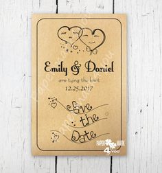 Items similar to Kraft Rustic Save The Date_Request Custom Color_Doodle Bride and Groom Hearts Save the Date_Printable/Physical Save Date Postcard/Envelope on Etsy Rustic Save The Dates, Handmade Invitations, Envelope, Stationery, Doodles, Just For You, Dating, Printables, Messages