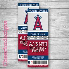 Los Angeles Angels Ticket Invitation -Baseball Invitation -Angels Invite - Birthday Invitation- Custom - Printable- Digital File by CheeriozDezigns on Etsy
