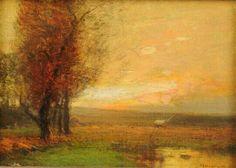 John Francis Murphy, American Tonalist, Sunset on the Lake, oil, 5 x 7