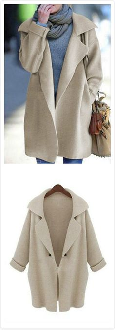 The shape and fit of this coat are so feminine and dramatic! This coat features knit fabric, lapel collar, long length and loose fit. It's absolutely gorgeous! Oh and don't forget warm!