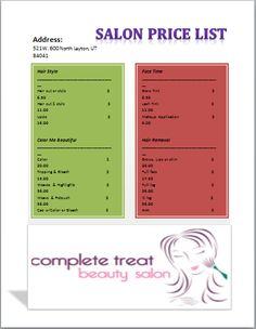 Salon Price List Template