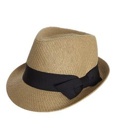Loving this Capelli New York Natural & Black Woven Bow Fedora on #zulily! #zulilyfinds