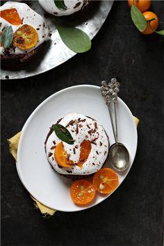 Dark Chocolate Kumquat Amaranth Mousse Cakes
