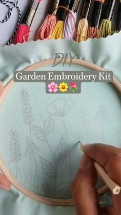 Garden Embroidery, Basic Embroidery Stitches, Creative Embroidery, Hand Embroidery Patterns, Ribbon Embroidery, Embroidery Kits, Cross Stitch Embroidery, Sewing Patterns, Sewing Hacks