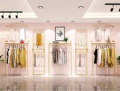 Clothing store rack display rack, wall hanging double deck back hanging rack, decoration of women's clothing store rack gold Clothing Store Interior, Clothing Store Displays, Clothing Store Design, Womens Clothing Stores, Women's Clothing, Clothing Racks, Boutique Clothing, Boutique Decor, A Boutique