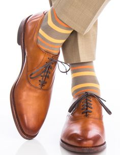 Dapper Classics Taupe with Orange and Saffron Stripe Fine Merino Wool Linked Toe Sock