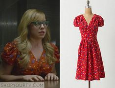 Penelope Garcia (Kirsten Vangsness) wears this red floral printed dress v neck dress in this week's episode of Criminal Minds. It is the Anthropologie Basque Dress.