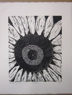 Sunflower Print. I love printmaking. Wish I had access to some linoleum and a print lab.