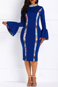 Long Sleeve Bodycon Dress & Be Charming Latest African Fashion Dresses, African Print Fashion, Dress Fashion, African Prints, African Fabric, African Wear, African Dress, African Style, Midi Dress With Sleeves