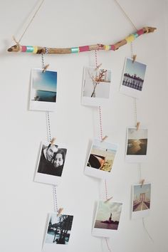 Painted Stick and Twine to hang your photos Diy Wand, Decoration Photo, Decoration Table, Photo Wall Hanging, Diy Foto, Stick Photo, Photo Deco, Ideias Diy, Painted Sticks