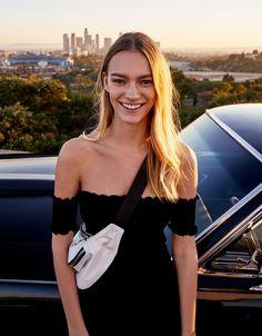 Fitted off-the-shoulder dress - Dresses - Bershka Spain