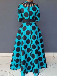 Dresses Aqua Swing Vintage Polka Dot Cut outs Evening Maxi Dress African Maxi Dresses, African Dresses For Women, African Attire, Long Dresses, African Wear, African Print Dress Designs, African Print Fashion, Africa Fashion, African Design