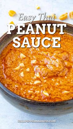This is a quick and easy Thai peanut sauce recipe is made with creamy peanut butter, chili-garlic sauce and lots of seasonings. Ready in 5 minutes. Great as a dipping sauce, drizzling sauce, or for hot and spicy meals. Thai peanut sauce is more traditionally made with roasted peanuts, coconut milk, fish sauce and lots of fresh ingredients and seasonings, but this is an EASY version made with peanut butter and easily obtained dry and wet ingredients.