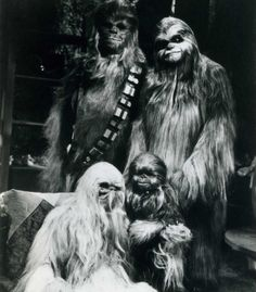 Awww, how sweet. It's a Wookiee Family Portrait! (Chewbacca shown with his family on his home planet of Kashyyyk. From the 1978 Star Wars Holiday Special).