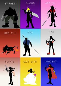 The Nine Heroes Gaming Poster Print Final Fantasy Funny, Final Fantasy Tattoo, Final Fantasy Cloud, Final Fantasy Characters, Final Fantasy Artwork, Final Fantasy Vii Remake, Fantasy Series, Fantasy World, Final Fantasy Collection