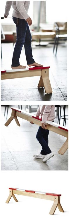 IKEA PS 2014 balance beam. Helps the development of children's coordination and balance. Designer: Henrik Preutz