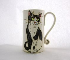 Black and White Cat Mugpottery mugbirthday by SusanAltenauPottery