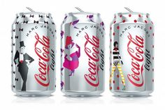 Limited-edition Coca-Cola Light cans, designed by Marc Jacobs, in honor of the company's anniversary in Europe. Each can celebrates a recent fashion decade (the 80s, 90s, & aughts), and is inspired by Broadway + Radio City Music Hall, where Diet Coke made its debut in 1982.