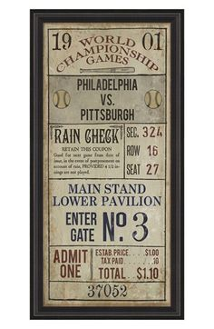 Free shipping and returns on SPICHER AND COMPANY 'Philadelphia vs. Pittsburgh' Vintage Look Sign Artwork at Nordstrom.com. A 12-color giclée print with a cool vintage look and feel pays homage to an age-old baseball rivalry. Professionally framed and ready to hang, the conversation-starting piece provides a perfect finishing touch for your living room or den.