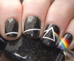 Pink Floyd nails I would so get my nails done like this! Dark Nail Designs, Colorful Nail Designs, Acrylic Nail Designs, Nail Art Designs, Nails Design, Salon Design, Band Nails, Rock Nails, Cute Nails