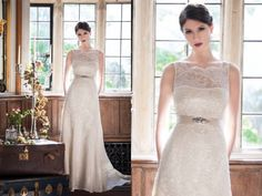 Absolutely adore this elegant and demure lace gown with shear high neck and subtle bling from Augusta Jones Fall 2014  Augusta Jones available at Cocoa Couture Pinned from www.dreamweddingspa.com