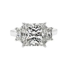 Gordon James 5.04 carat Princess Cut Diamond Ring; 6.16 carat total weight. Set in platinum.  http://www.gordonjamesdiamonds.com/products/diamond-rings/tsr-743