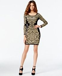 INC International Concepts Printed Gold-Tone Sweater Dress, Only at Macy's