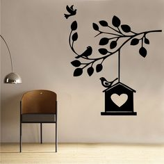 Wandsticker Tree House Branch East Urban Home Tree Wall Painting, Simple Wall Paintings, Creative Wall Painting, Creative Wall Decor, Diy Wall Art, Wall Painting Design, Creative Walls, Diy Wand, Bedroom Wall Designs