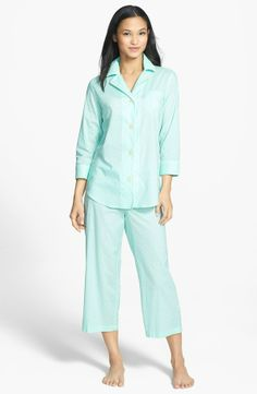 RALPH LAUREN Cotton Lawn Capri Pajamas Green/White $59