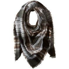 Steve Madden Classic Plaid Square Scarf (Neutral) ($36) ❤ liked on Polyvore featuring accessories, scarves, sciarpe, square scarves, tartan wrap shawl, acrylic scarves, plaid wraps shawls and plaid shawl