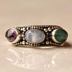 Silver Ring with Emerald, Moonstone and Amethyst - donbiujewelry  - 1