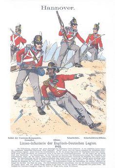 Band III #24.- Hannover. Englisch-Deutsche Legion. Linien-Infanterie. Soldat der Zentrums-Kompanien: Grenadier. Offizier. Scharfschütz. Scharfschützen-Offizier. 1812.