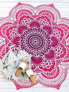 Red Lotus Print Flower Shape Beach Blanket