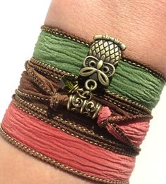 Owl Silk Wrap Bracelet Unique Gift For Her by BohemianEarthDesigns, $24.95