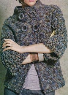 From a Spanish site which can be translated but it is for crochet ~ hopefully will be able to work the schematics out for knitting ~ love the neckline and high buttoning. Make your own buttons ~ Instructions on my board, maker ~ button. Crochet Coat, Crochet Jacket, Knit Jacket, Crochet Cardigan, Crochet Clothes, Hand Knitted Sweaters, Fall Sweaters, Handgestrickte Pullover, Knitting Designs