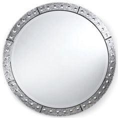Crewe Hollywood Regency Antique Silver Round Mirror - 32 Inch - for desk and console - could use a pair.