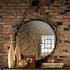 Best Rope Mirrors and Nautical Wall Decor! Discover the top-rated nautical themed rope wall decorations and rope themed mirrors. Round Mirror With Rope, Rope Mirror, Metal Mirror, Round Wall Mirror, Round Mirrors, Hanging Mirrors, Nautical Wall Mirrors, Nautical Wall Decor, Makeup Vanity Mirror