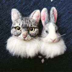 Cute Needle felted project wool animal bunny cat(Via @a_3939)